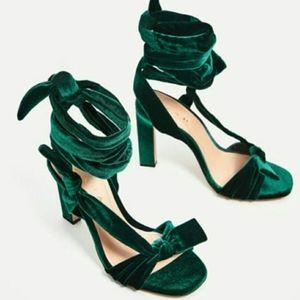Zara velvet emerald laceup heels